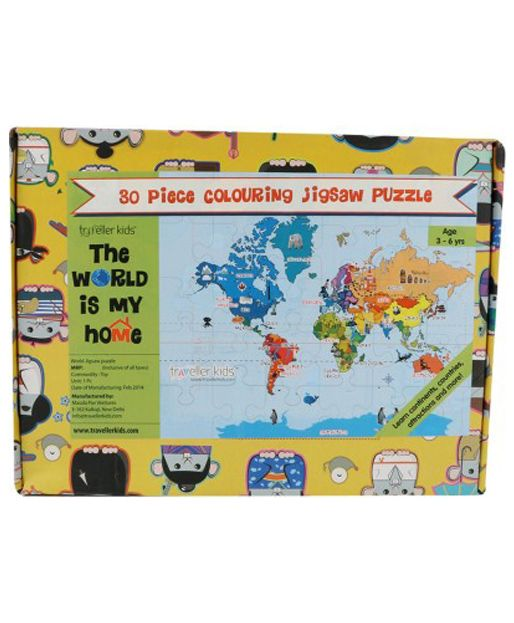 Jigsaw Puzzle-World Continents (30 pc + colouring)