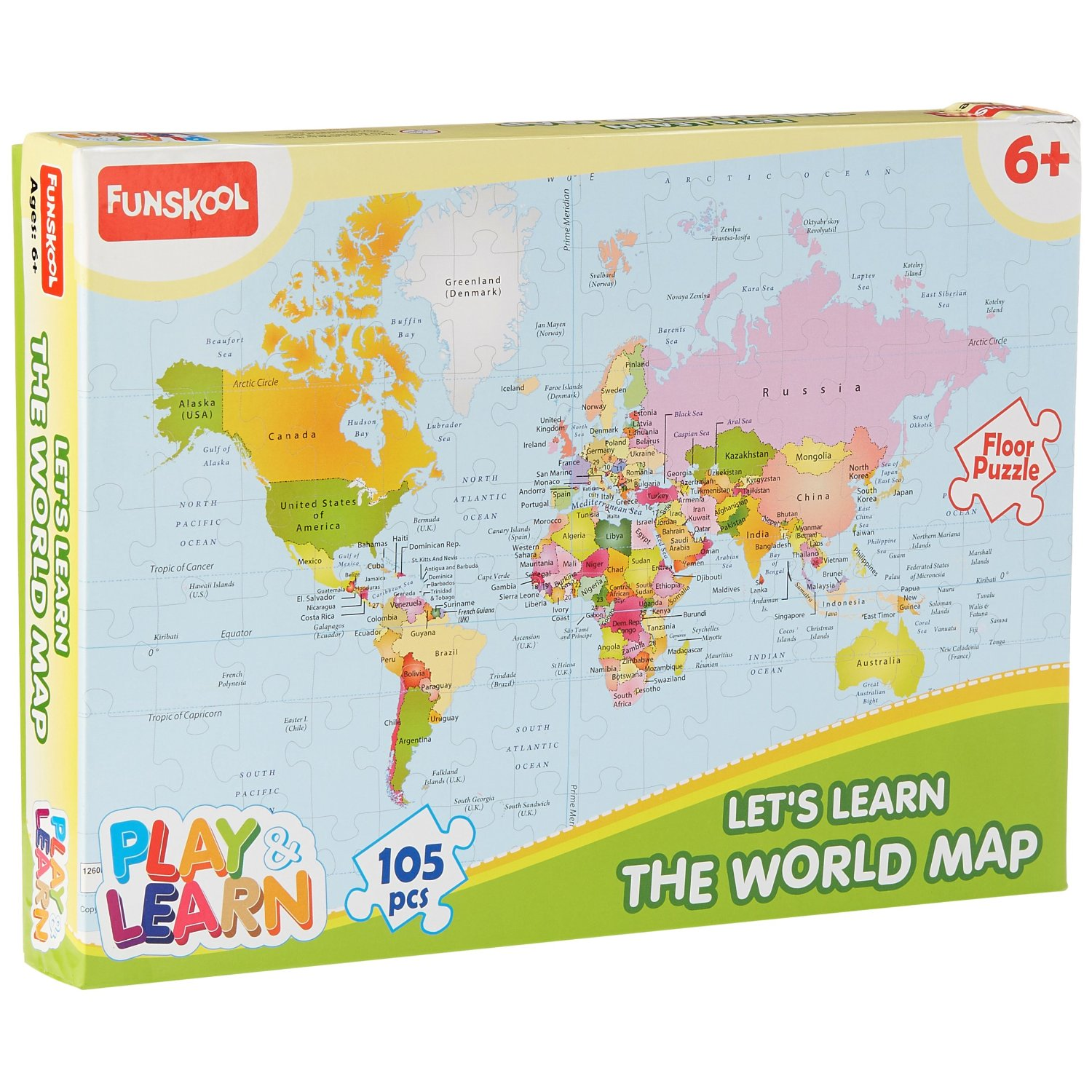 Lets Learn The World Map (105 Pcs)
