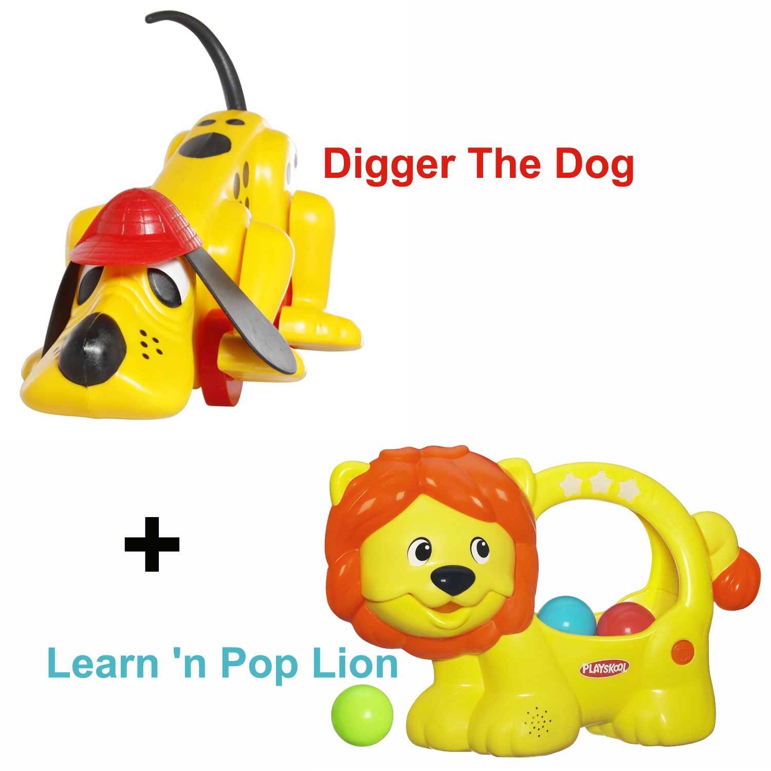 Digger The Dog and Learn 'n Pop Lion